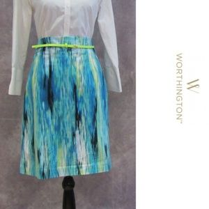 Worthington Petite Blue Lime Pencil Skirt 16P